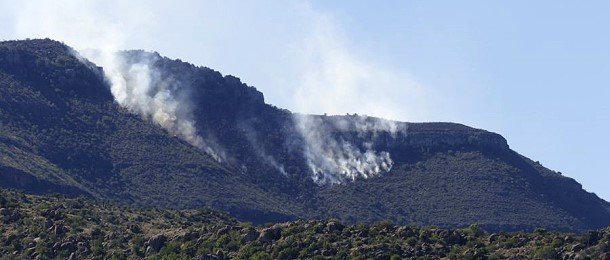 In der Karoo herrschen derzeit zwischen 35 und 40 Grad. Leider sind solche Brände, auch im Nationalpark, nicht selten.