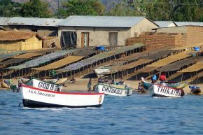 Die Quelle schmackhaften Seefischs-der Fischerhafen in Chembe.