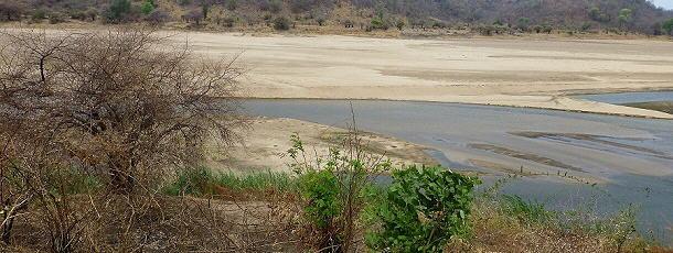 Der Luangwa River ist fast ausgetrocknet