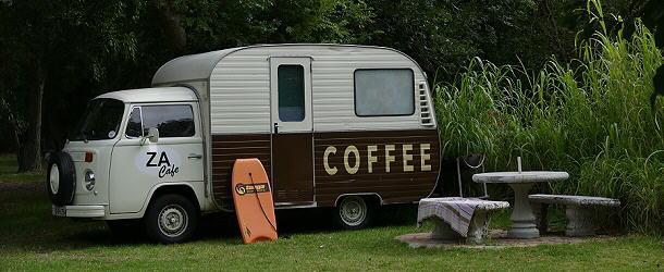 Guten Kaffee gibt's bei Chris im Chapmans Peak Caravan Park.