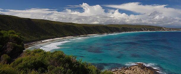 Während der Fahrt auf dem Great Ocean Drive in Esperance kommt man an schönen Buchten vorbei.