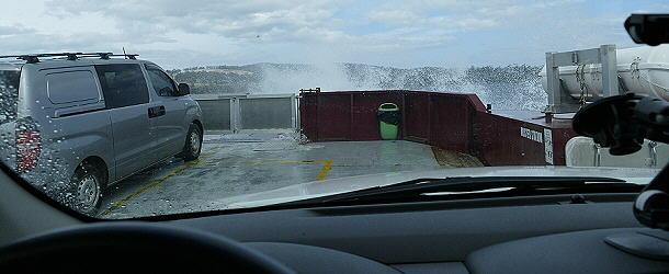 Bei der Überfahrt nach Bruny Island herrscht stürmisches Wetter.