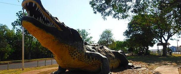 Das Krokodil von Wyndham erinnert an die vielen Artgenossen in den Flüssen rund um den Ort.